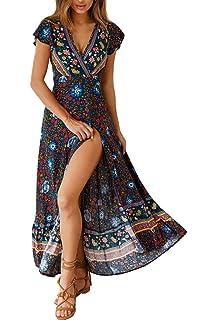 2b571f3dafe0d6 Avondii Damen Boho Kleid Lang V-Ausschnitt Maxikleid Kurzarm Sommerkleid  mit Schlitz