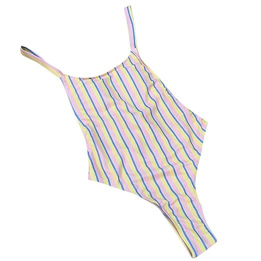 b1636de0b39 Amazon.com: HYIRI 2019 New Striped Printing Swimwear Women's Sexy Special  Bikinis Tankini Brazilian Once-Piece Swimsuit: Clothing