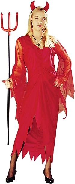 rotes Teufel Kost/üm mit Teufelsh/örnern f/ür Damen Fetzen Kost/üme rot Halloween Teufelin Kleid Damen Fasching Karneval Gr/ö/ße M-L