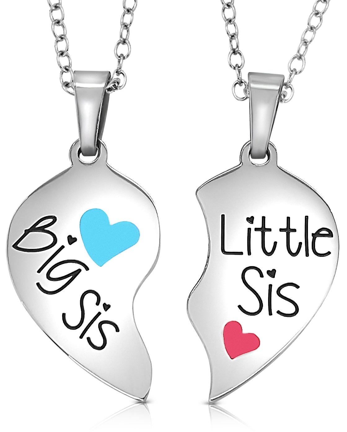 Set of 2 Piece Heart Halves Matching Big Sis Little Lil Sis Sisters Necklace Jewelry Gift Set Best Friends | Sister Necklaces For 2 (Big Sis Blue - Little Sis Pink)