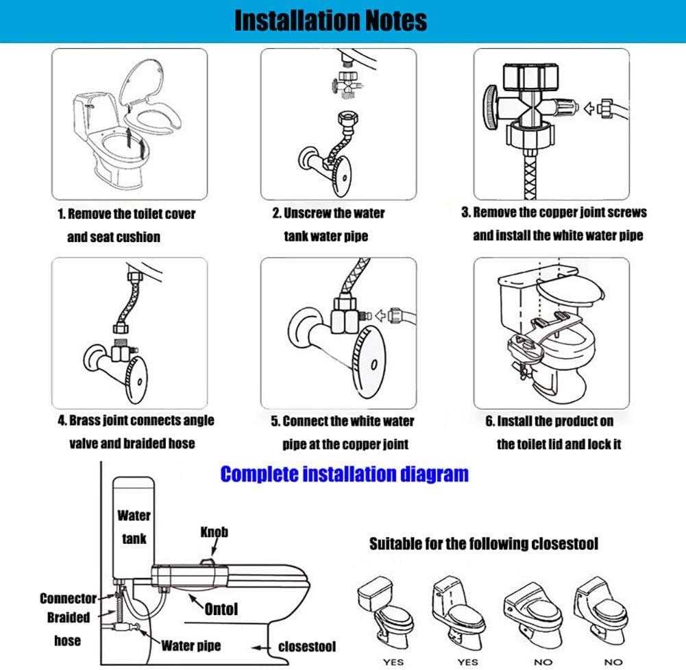 hygi/ène Intime sans /électricit/é YLEI Kit douchette Bidet pour WC Pulv/érisateur Douche Bidet Self Cleaning Dual Nozzle Contr/ôle De La Pression De leau