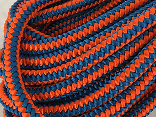 "1/2"", 12 Strand Polyester Arborist Climbing Blue Ox Rope, Blue/Orange"