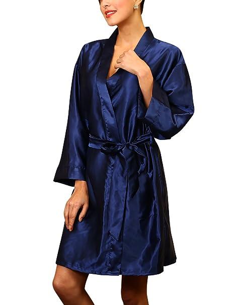 YAOMEI Unisexo Kimono Albornoz para Mujer Hombre, Satín Camisón Robe Albornoz Dama de Honor Ropa