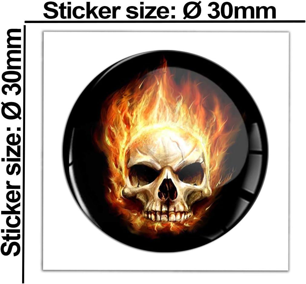 2 x Adesivi Vinile Stickers Skull Teschio Fiamme Fuoco per Auto Moto Finestr/ìno Porta Casco Scooter Bici Motociclo Tuning B 114