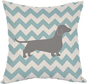 "Moslion Dachshund Dog Pillow Dachshund Pattern Dog Teal Waves Striped Cotton Linen Cushion Cover Square Pillow Cases for Men Women Boys Girls Kids Pillowcase Sofa Bedroom Livingroom 18""x18"""