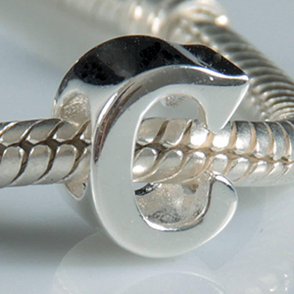 Breloque en forme de lettre de l'alphabet - Argent sterling 925authentique - Compatible avec bracelet européen XiaoXiao Charm