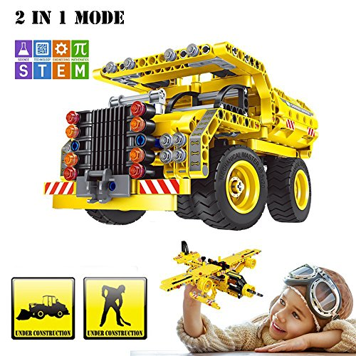 Set STEM Toy, 361pcs Engineering Bricks Construction Kit, Educational Building Dump Truck and Airplane for Kids Age 5-10, Best Birthday/Christmas Gifts for 6, 7 and 8 Year Old Boy (10 Best Cars)