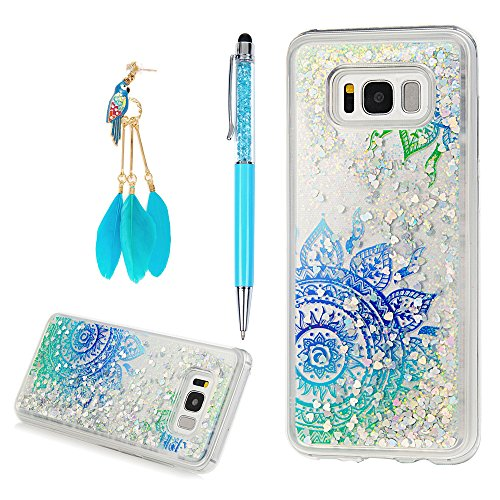 Galaxy S8 Plus Case, Flowing Liquid 3D Glitter TPU Silicone Quicksand Case Floating Moving Bling Hearts Sparkly Print Clear Shockproof Gel Protective Cover for Samsung Galaxy S8 Plus by YOKIRIN