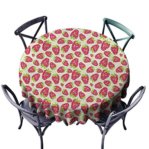 - VIVIDX Round Outdoor Tablecloth,Strawberry,Tropical Summer Fruit Pattern Strawberry Figures with Traditional Paisley Motifs,Table Cover for Kitchen Dinning Tabletop Decoratio,35 INCH,Multicolor