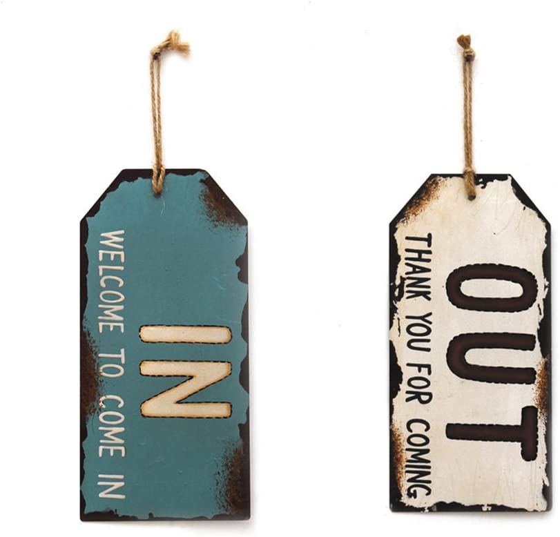 YK Decor Vintage Metal In Out Business Store Sign Distressed Door Hanger Sign with String 10x4.5 inches