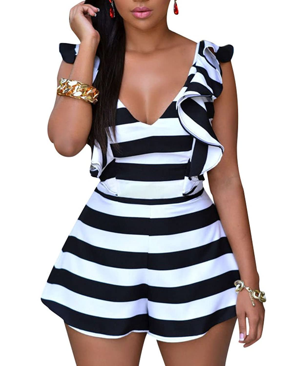 Cfanny Women's Stripes Ruffle Sliky Backless Romper Jumpsuit Playsuit