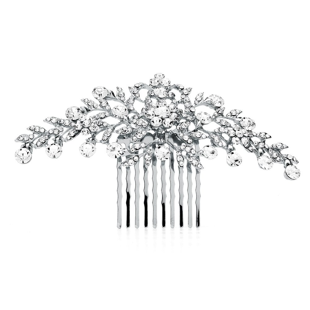 Mariell Glistening Silver and Clear Crystal Petals Bridal, Wedding or Prom Hair Comb Accessory 4190HC-S