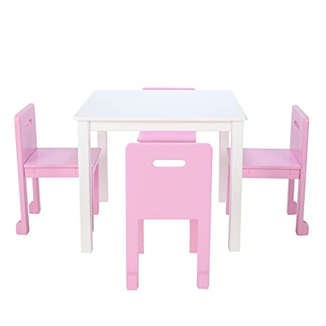 Amazon.com: Max & Lily White Wood Kid and Toddler Square Table Set ...