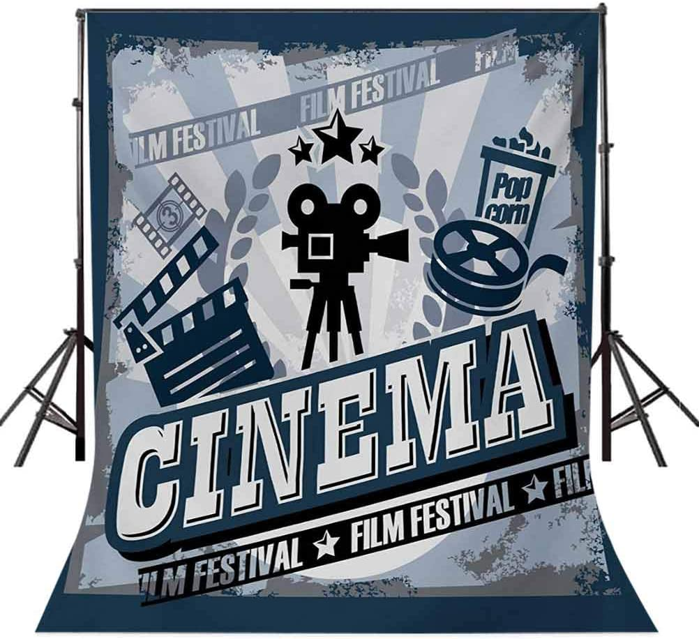 Vintage Cinema Poster Design with Grunge Effect and Old Fashioned Icons Background for Baby Shower Birthday Wedding Bridal Shower Party Decoration Photo Studio 6.5x10 FT Photography Backdrop