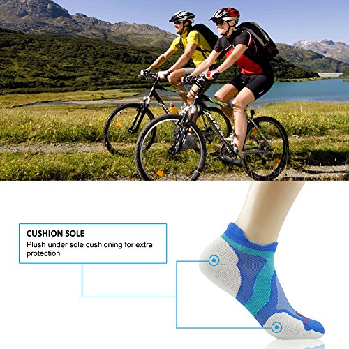 Merino Wool Tab Ankle Running Socks, ZEALWOOD Unisex Performance No-Show Athletic Quarter Sock, Gym Socks, Light Weight Socks,Dry Hiking/Outdoor Socks-Blue/White,Small by ZEALWOOD (Image #5)