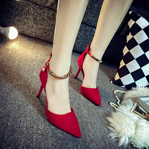 ZHANGJIA Verano Poco Profundo, Rojo Puntiagudo, Zapatos de Tacon Alto, Delgado y Sexy Single Shoe Buckles, única Mujer Zapatos, Zapatos de la Boda. gules