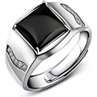 JiangXin Adjustable 925 Sterling Silver Black Onyx Agate Men Ring White Gold Plated Jewllery for Women and Men