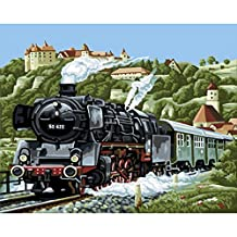 Wishwin Paint by Number Kits for Adults Kids Home Drawing Paintwork 16x20 inch Frameless,The Starting Train