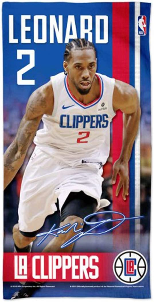 30 x 60 inches WinCraft Kawhi Leonard #2 Los Angeles LA Clippers Beach Towel with Premium Spectra Graphics