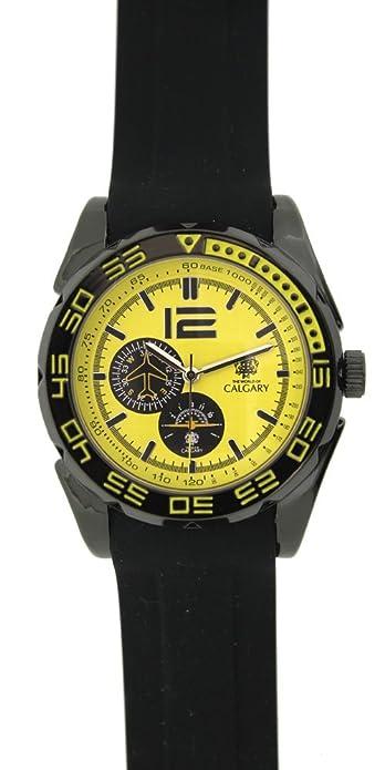 Relojes Calgary Alpha Team k. Reloj Deportivo para Hombre, Correa de Goma Color Negra, Esfera Color Amarillo: Amazon.es: Zapatos y complementos