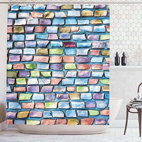 Ambesonne Geometric Shower Curtain, Colorful Mosaic Tiles Pattern Brick Wall Design with Grunge Effect Worn Out Look, Fabric Bathroom Decor Set with Hooks, 70 Inches, Blue Coral