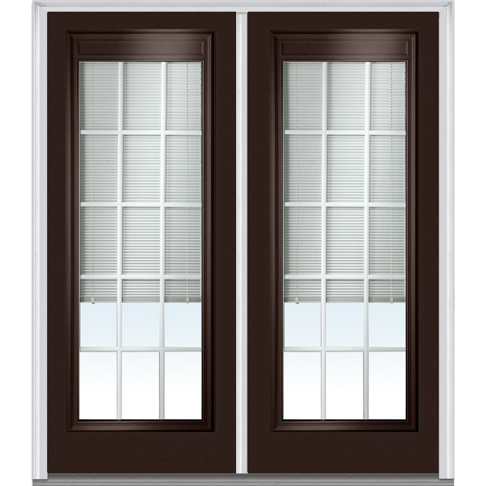 National Door Company Z010546L Steel Polished Mahogany, Left Hand In-swing, Prehung Door, Full Lite, Clear Low-E Glass with RLB and GBG, 72'' x 80''