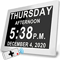 """Digital Clock with 16 Alarms & Remote Control, 8"""" Large AM/PM, Bedroom Wall Day Date Clock for Memory Loss Seniors…"""