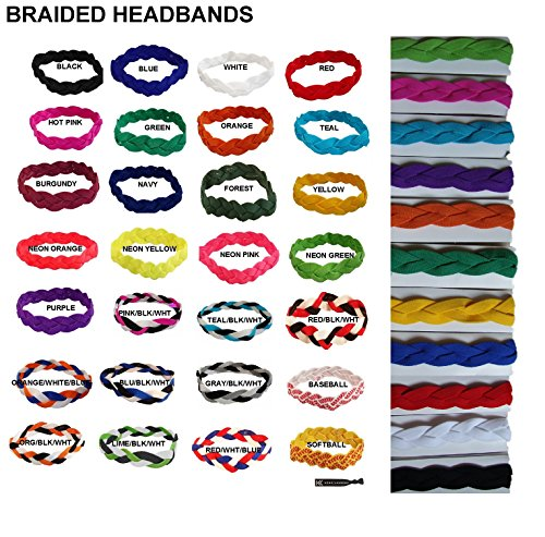 Headbands for Women- Yoga Headband- Elastic Hair Bands- Athletic Sports Head Band- Moisture Wicking Running Basketball Sweat Bands- Non Slip Stretchy Braided Sweatband for Men Kids Girls Womens from Kenz Laurenz