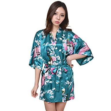 682ed6ab82 Women s Peacock Kimono Robes Satin Short Style V-Neck Robe Short Sleeve for  Wedding Party at Amazon Women s Clothing store