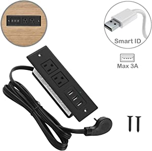 Furniture Recessed Power Strip with Flat Plug, Recessed Desk Outlet with 3.5A Max USB, In Conference Desk Recessed Power Outlets Socket, Desktop Power Grommet with 6.56ft Power Cord