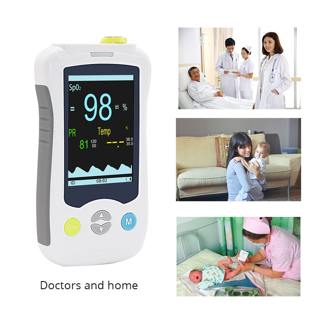 Handheld Pulse Oximeter Fingertip with Body Temperature Function Blood Oxygen Saturation Health Monitor 3.5inch LCD Display Probe Optional Yonker YK-820B - Adult(Lithium Battery) by Yonker (Image #3)