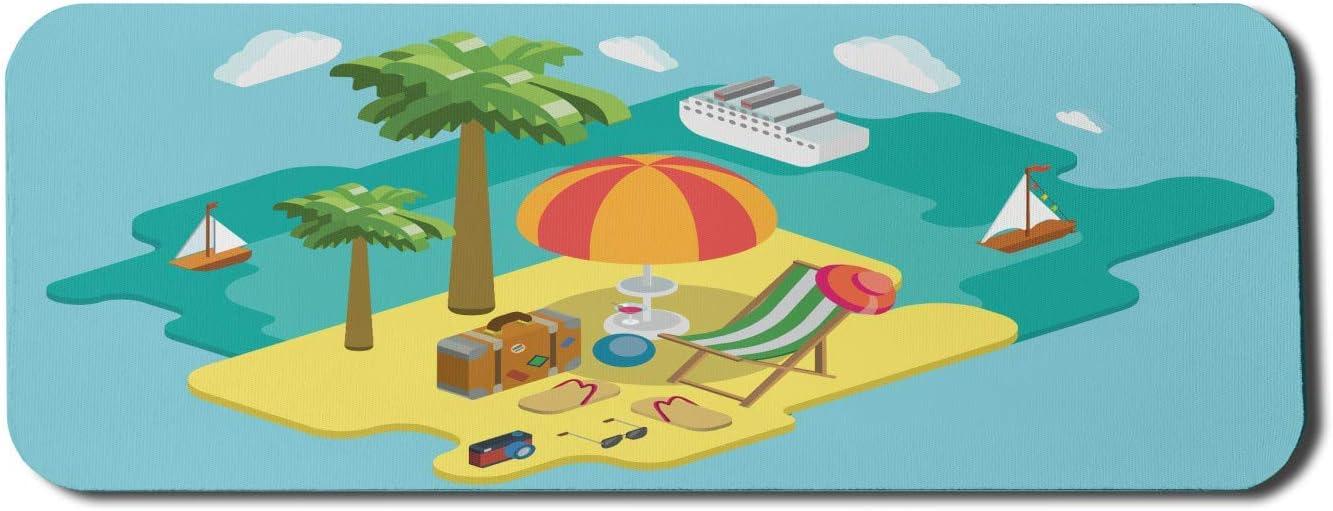 N\A Silla de Playa Alfombrilla de ratón para Ordenador, Palm Island Chaise Lounge Tumbona Maleta Tangas Crucero Vacaciones de Verano, Alfombrilla Rectangular de Goma Antideslizante Grande Multicolor