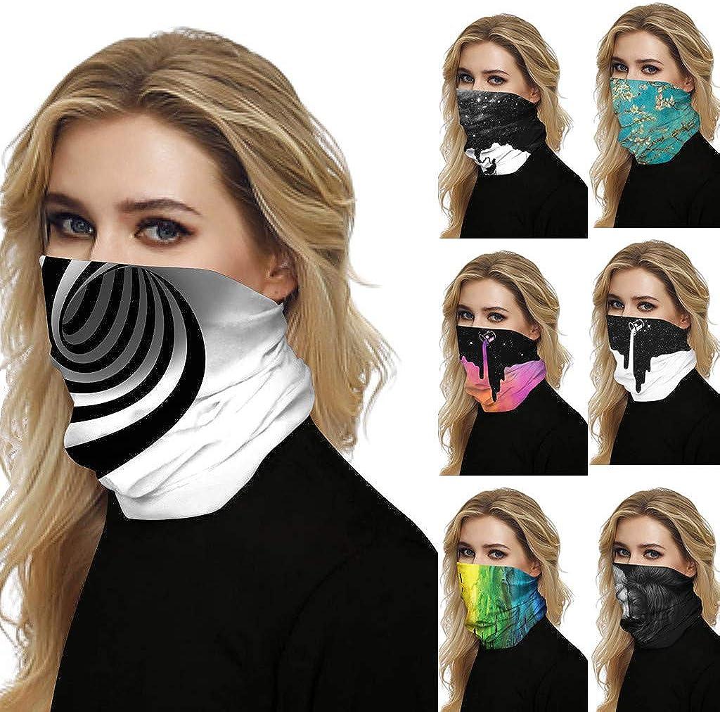 Bandana for Women and Men,Windproof Sun Protection Seamless Rave Bandana Neck Gaiter Tube Headwear Motorcycle Face Scarf