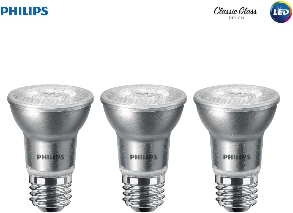Philips LED Classic Glass Dimmable PAR16 40-Degree Spot Light Bulb: 400-Lumen, 3000-Kelvin, 5.5-Watt (50-Watt Equivalent), E26 Base, Bright White, 3-Pack (475434)