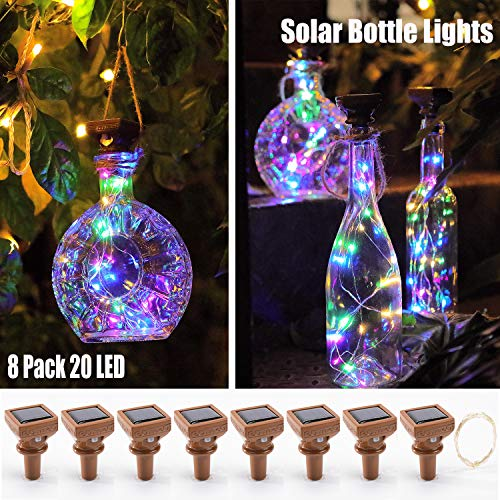 8 Pack Wine Bottle Lights 20 LED Colored Starry Cork Lights Solar Operated Mini Copper String Lights for Wine Bottles with Cork DIY/Decor/Party/Wedding/Christmas/Halloween(Solar Powered, Multi Color) -