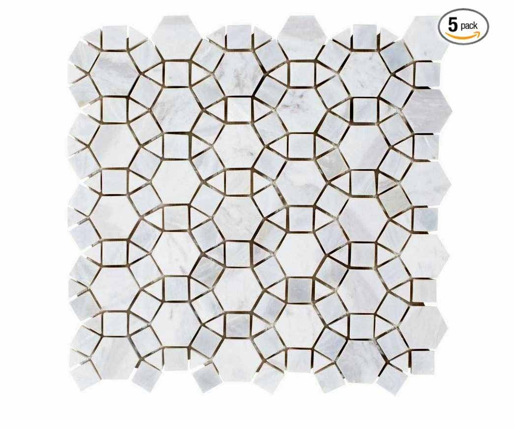 Carrara Hexagon Marble with Mix Circulos Mother of Pearl Tiles On Mosaic Sheet (Pack of 5 sheets)