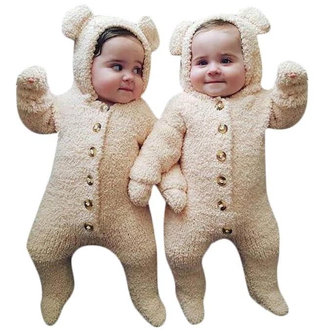 QinMM Mono de Felpa con Capucha de Lindo para Bebé Infantil Niño niñas de Peleles Mangas largas Jumpsuit Body Calida Invierno: Amazon.es: Ropa y accesorios