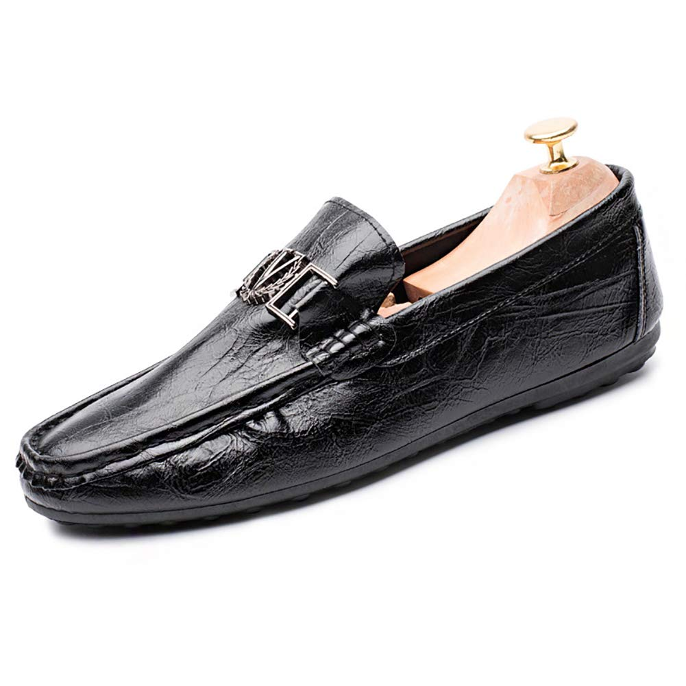 GPF-fei Zapatos de los Hombres, Primavera otoño Cuero al Aire Libre Zapatillas de Running Calzado Deportivo Calzado Casual Transpirable Perezoso Zapato Lofer,Black,43: Amazon.es: Hogar