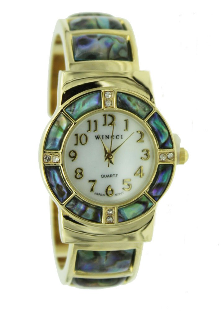 Abalone Watch Bangle Cuff Inlay Style with Crystal Accents-Gold Tone by Bora