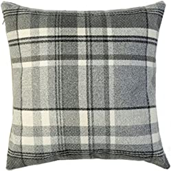 McAlister Heritage 22 Inch Plush Plaid Farmhouse Pillow Cover Sham | Flannel Wool, Striped Tartan Check | Gray Black White 22x22 Decorative Throw Cushion Case | Country Cabin Accent Rustic Decor