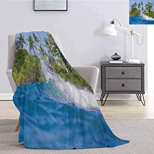 Luoiaax Ride The Wave Bedding Flannel Blanket Surfer in Ocean by Bali Island Palm Trees Dreamy Nature Scenery Super Soft and Comfortable Luxury Bed Blanket W70 x L84 Inch Fern Green Violet Blue