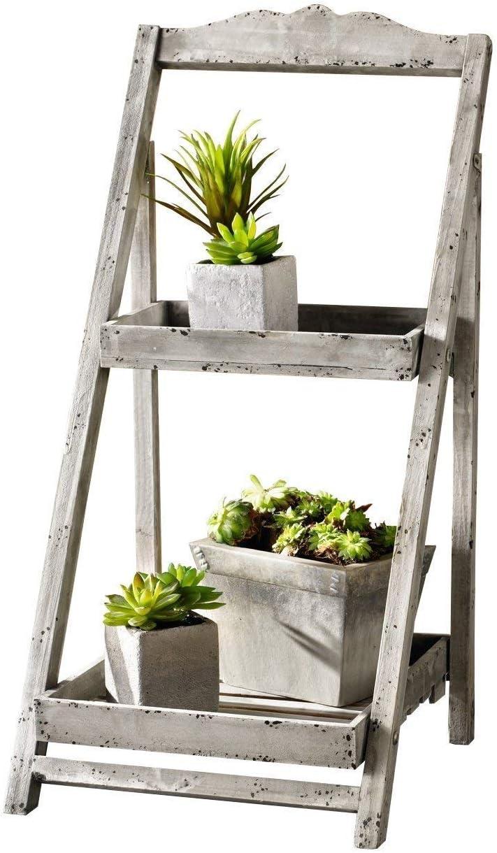 MMWYC Soporte de Planta de Madera torcida rústica de 3 Niveles y Soporte de exhibición/Soporte de Planta de Madera Plegable para Interior o Invernadero de Interior (Color : White): Amazon.es: Hogar