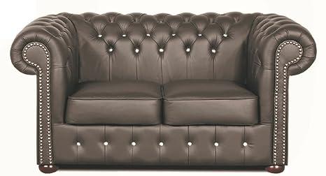 Casa Padrino Chesterfield sofá de 2 plazas Cuero Genuino ...