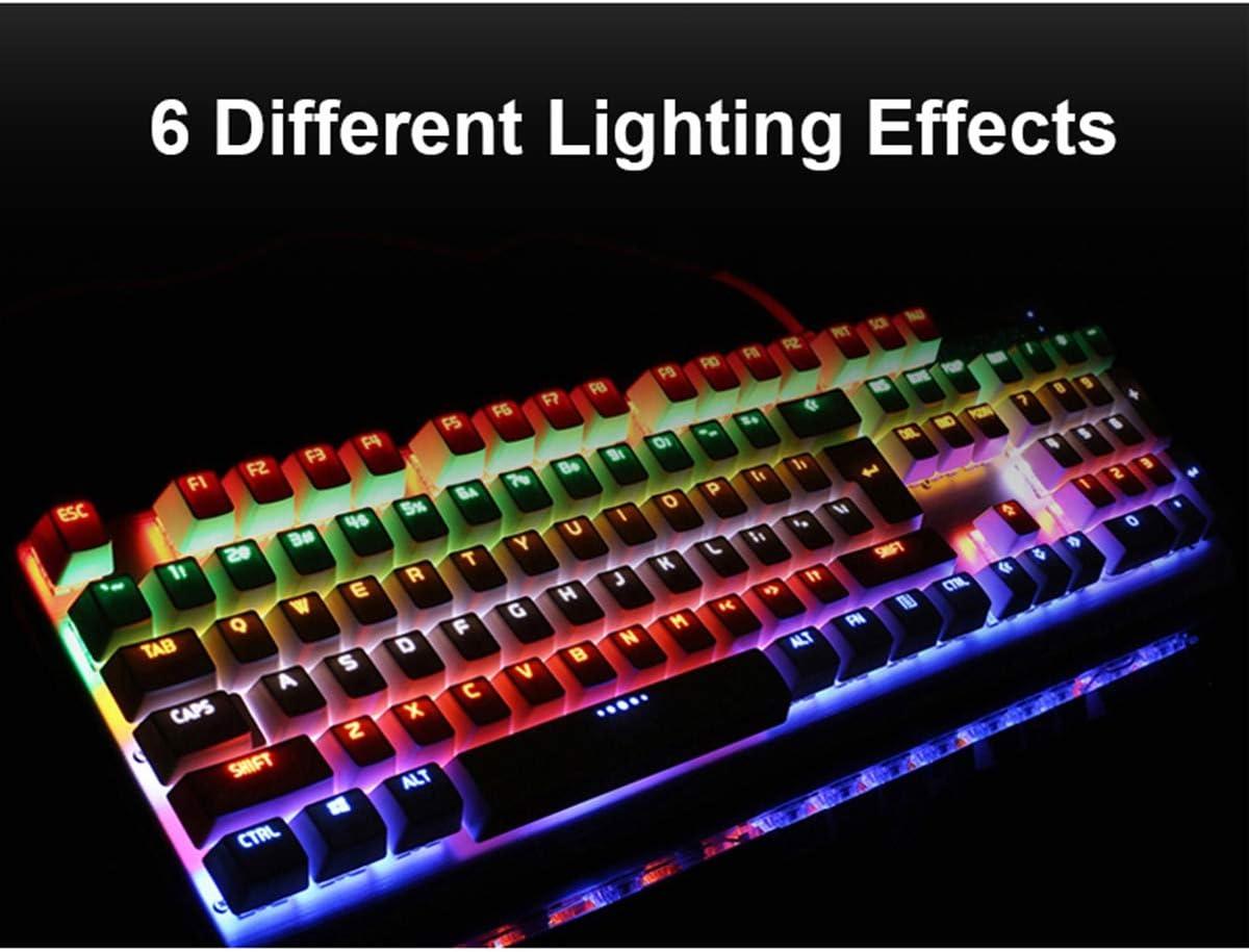 WMG/&GYJ Gaming Mechanical Keyboard Mouse Combo 3200 DPI Optical Gaming Mouse 104 Keys LED Backlit Illuminated USB Ergonomic,Blackaxismixedlight