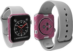Apple Watch Series 3 Screen Protector + Pink Carbon Fiber Full Body (42mm, Nike+, Series 3/2/1), Skinomi TechSkin Pink Carbon Fiber Skin for Apple Watch Series 3 with Anti-Bubble Clear Film Screen