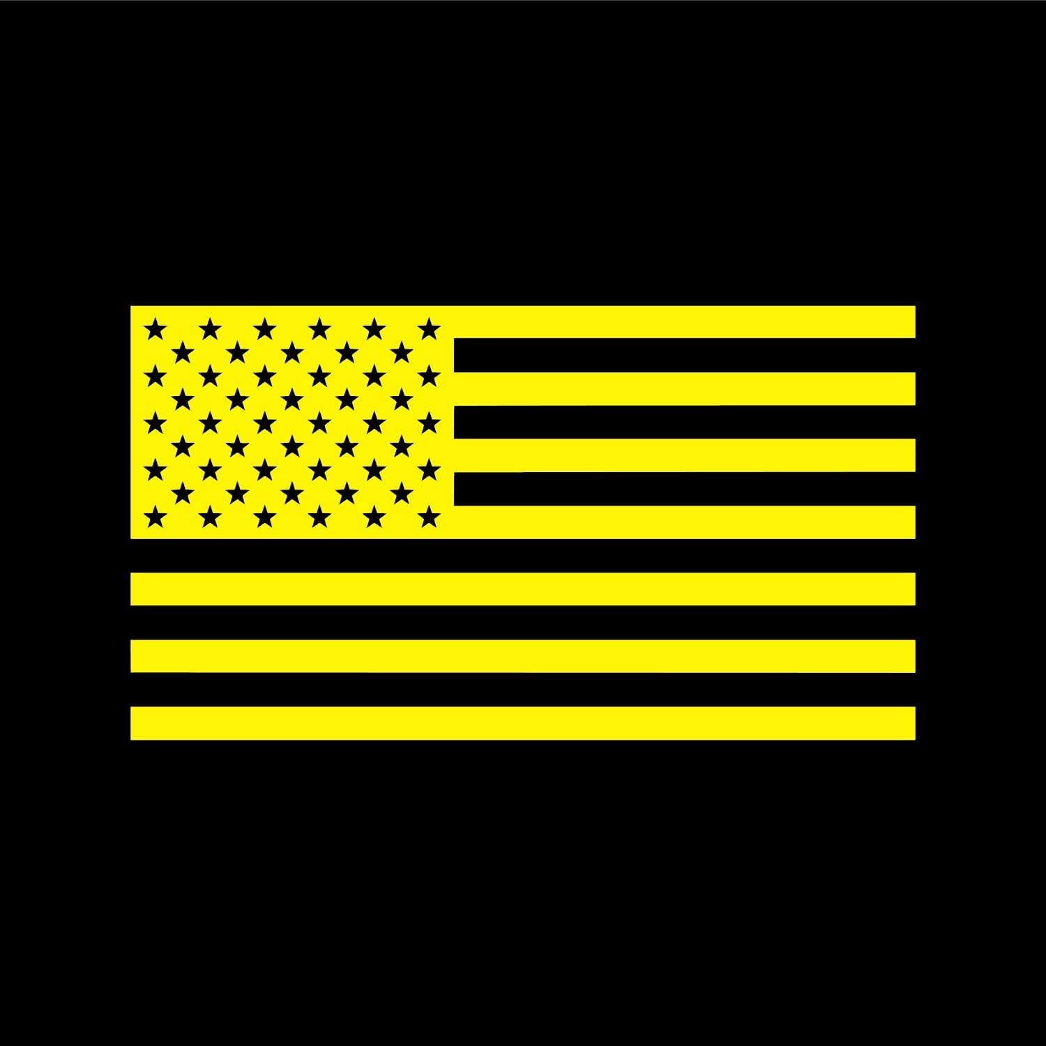 American US Flag [Pick Color/Size] Vinyl Decal Sticker for Laptop/Car/Truck/Jeep/Window/Bumper (10in x 5.5in, Yellow)