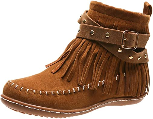 Womens Ankle Moccasin Boots Casual Hidden Low Heel Tassels Fringes Lace Up Shoes
