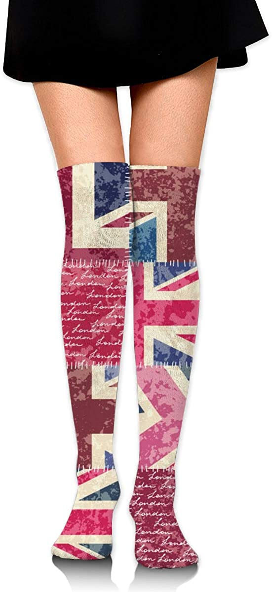 Women Crew Socks Thigh High Knee Patchwork With London Letter Long Tube Dress Legging Soccer Compression Stocking