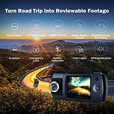 """Dash Cam, Trekpow by ABOX HD 1080P Car DVR Dashboard Camera with 180°Rotation for Front or Cabin, 2"""" LCD, 170°Wide Len, Night Vision, G-Sensor Lock, Loop Recording, Motion Detection, Parking Mode"""