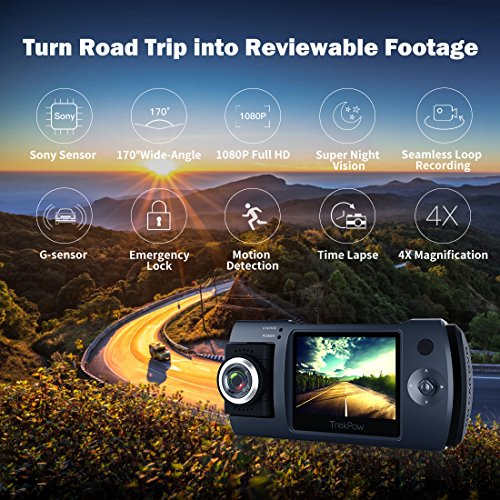 Dash Cam, Trekpow by ABOX HD 1080P Car DVR Dashboard Camera with 180°Rotation for Front or Cabin, 2' LCD, 170°Wide Len, Night Vision, G-Sensor Lock, Loop Recording, Motion Detection, Parking Mode
